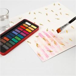 Bloc papier Spécial Aquarelle Feuilles avec dessins imprimés dorés, 12feuilles blanches 30,5x30,5 cm de Qualité