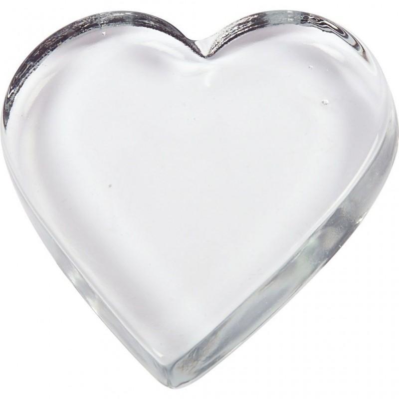 Coeur déco en verre massif transparent  pour photo presse papier ou déco dim. 9x9 cm, épaisseur 15 mm, 1pièce