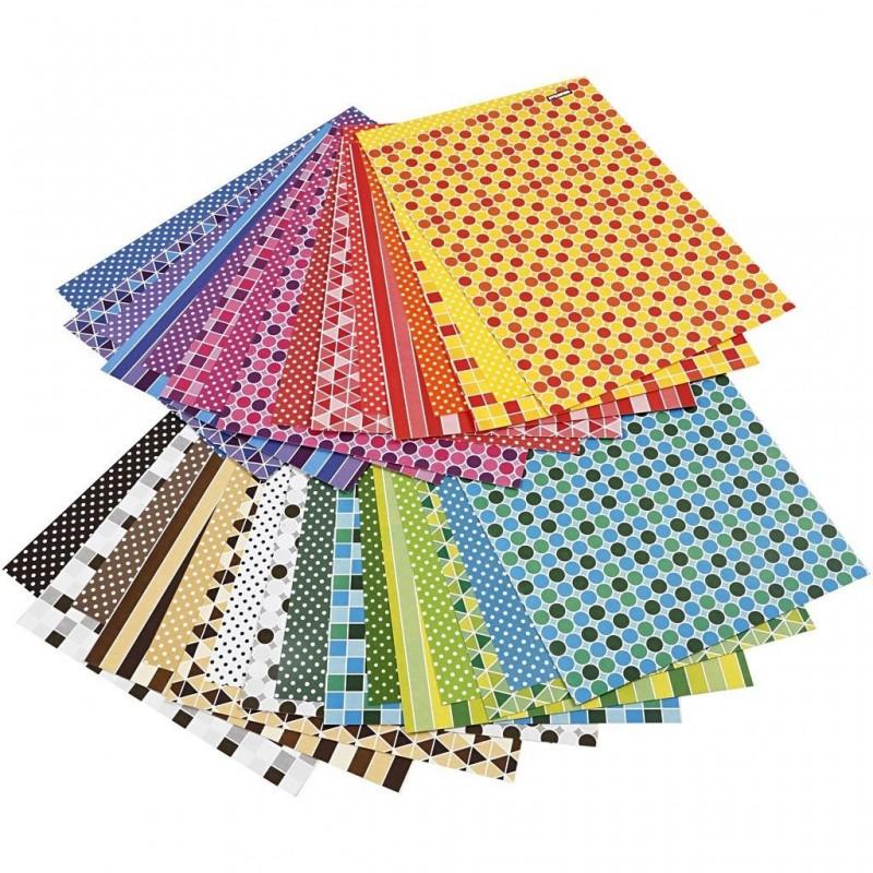 Papier cartonné Design motifs couleurs vives double face A4 210x297 mm, environ 250 gr cm  paquet 16 feuilles assorties