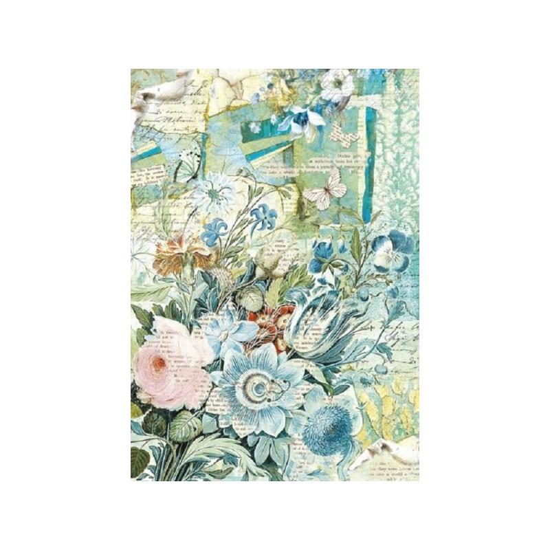 Papier feuille de riz, imprimé L'Eté bleu, vendue à l'unité, planche de motifs, format A4