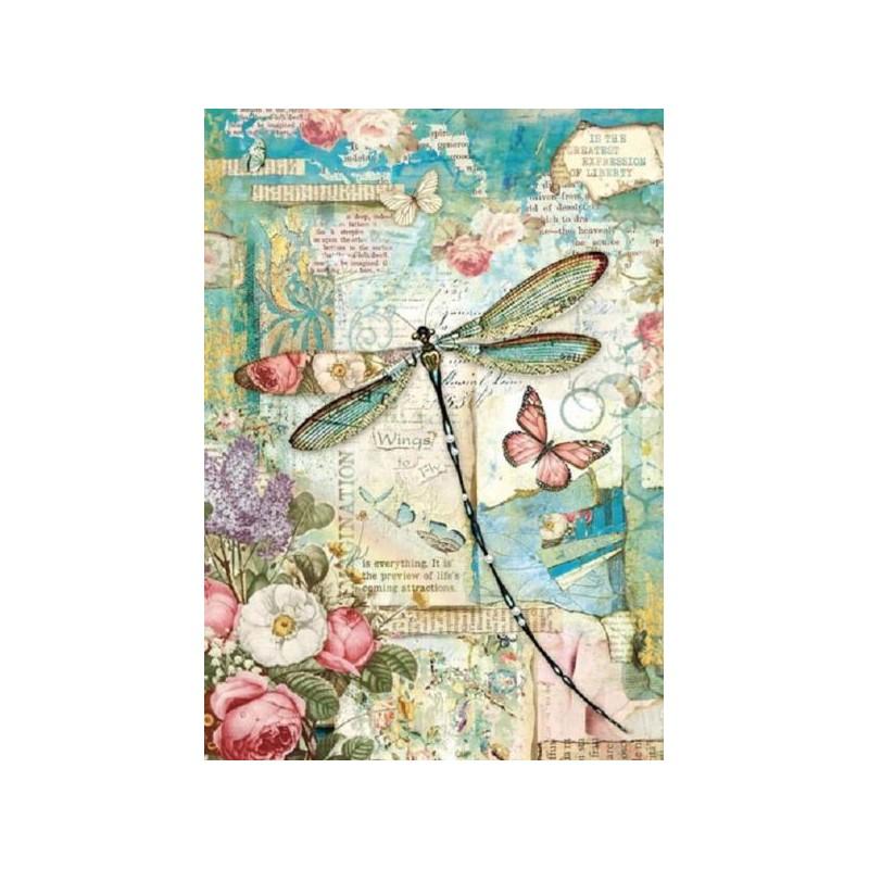 Papier feuille de riz, imprimé papillons et libellule du jardin, vendue à l'unité, planche de motifs, format A4