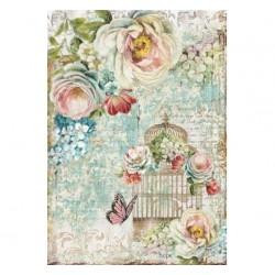 Papier feuille de riz, imprimé bouquet et cage à oiseaux, vendue à l'unité, planche de motifs, format A4