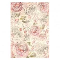 Papier feuille de riz, imprimé Roses du Jardin, vendue à l'unité, planche de motifs, format A4