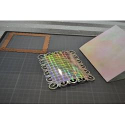 Papier hologramme Design motifs côté métallique argenté brillant A4 210x297 mm, environ 120 gr (vendue à l'unité)