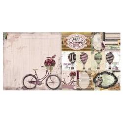 Bloc Papier cartonné fond de carte dentelle Design coloris beige/gris/noir A6 104x146 mm, 200 gr, 1 pièce,   Promo - 10 %
