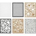 Bloc Papier Scrap cartonné fond de carte dentelle Design coloris beige/gris/noir A6 104x146 mm, 200 gr, 1 pièce