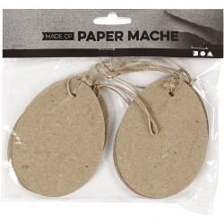 Oeuf en papier mâché sachet de 6,  dim. h: 10 cm, 6pièces