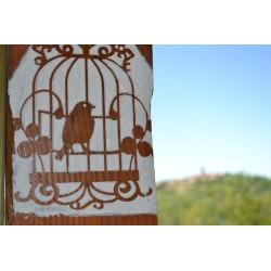 Pochoir volière et oiseau avec effet négatif photo, 14 x 20 cm