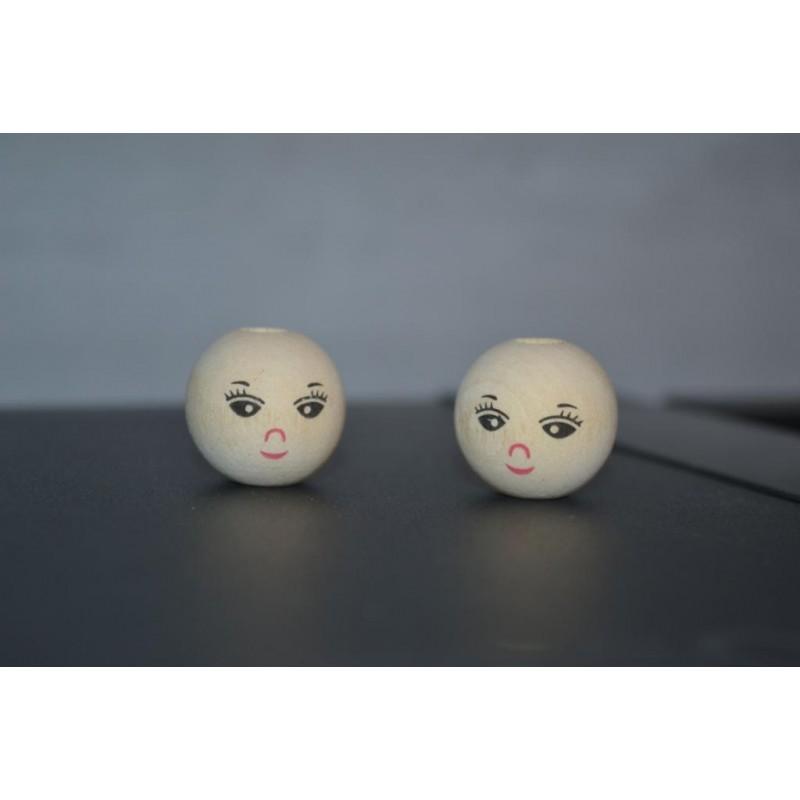 Tête, ronde, perle bois petit sourire,  percée, D 20 mm, lot de 2