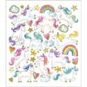 Planche Stickers  licornes  fond Matt , Effet transparence