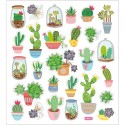 Planche Stickers  cactus  fond brillant , Effet transparence