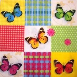 Serviette en papier : Papillons Multicolors (vendue à l'unité)