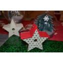 Nichoirs, Abris oiseaux décoration en bois naturel en forme d'étoile (lot 2 pièces, 11 x 4.5 cm)