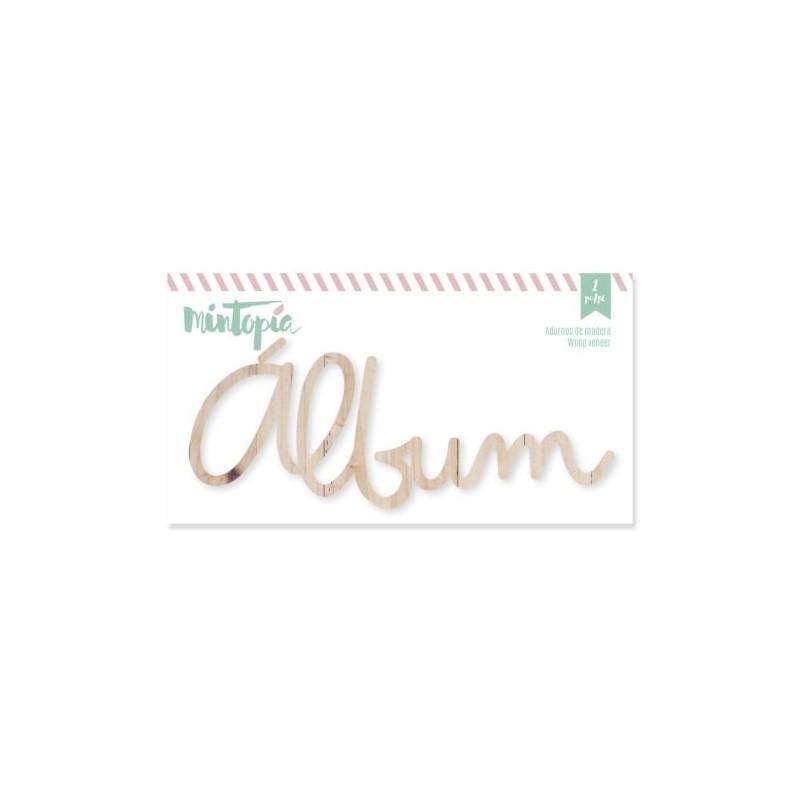 Mot Album  Dies cut  bois 12cm x 4 cm,  à l'unité