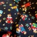 Coupon tissu coton imprimé petits Oursons colorés fond noir (0.45 cm x 0.55 cm)