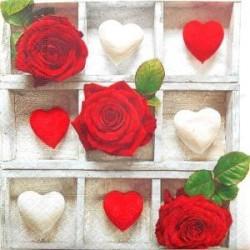 """Serviette en papier Roses Rouges & Coeurs """"Roses d'Amour""""  (vendue à l'unité)"""
