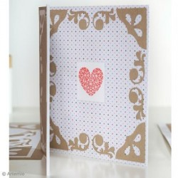 "Tampon Clear Kit : Tampon & Bloc Acrylique, Coeur ""Love"" Rayures , 4,5 x 4,5 cm"