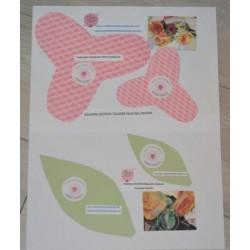 """Pochette Créative Patron base """"Tulipes et feuilles feutrage humide"""" (4 pièces patron 2 dimensions) DIY"""