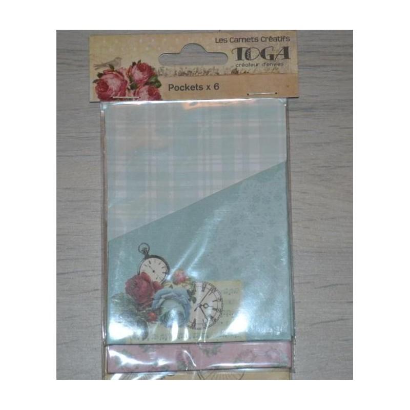 Pochettes 6 mini Etiquettes dies cut coll.Toga Romantique 7,5 x10 cm