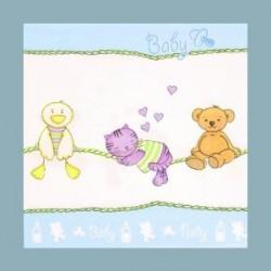 Serviette en papier 3 plis bébé bleu clair (vendu à l'unité)