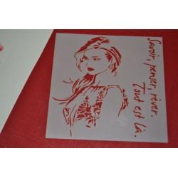 Pochoir  Femme Visage et écriture 14x14 cm
