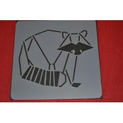 Pochoir  Raton Laveur esprit Nature , 14x14 cm