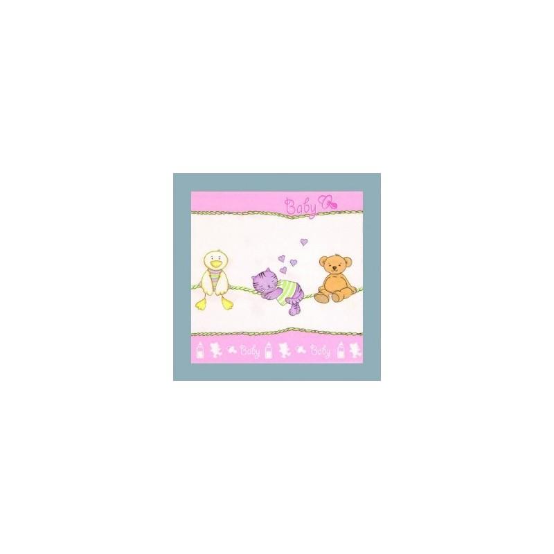 Serviette en papier 3 plis bébé rose layette (vendu à l'unité)