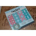 Bloc Papier Scrap cartonné fond de carte dentelle Design coloris bleu/rose 15x15 cm, 4 motifs