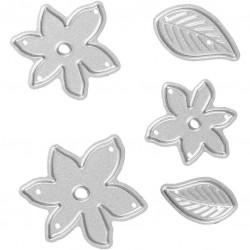 Matrice de Découpe métal, 5p fleurs & feuilles Mini dies