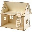 Maison de poupées en bois Naturel à monter, duplex