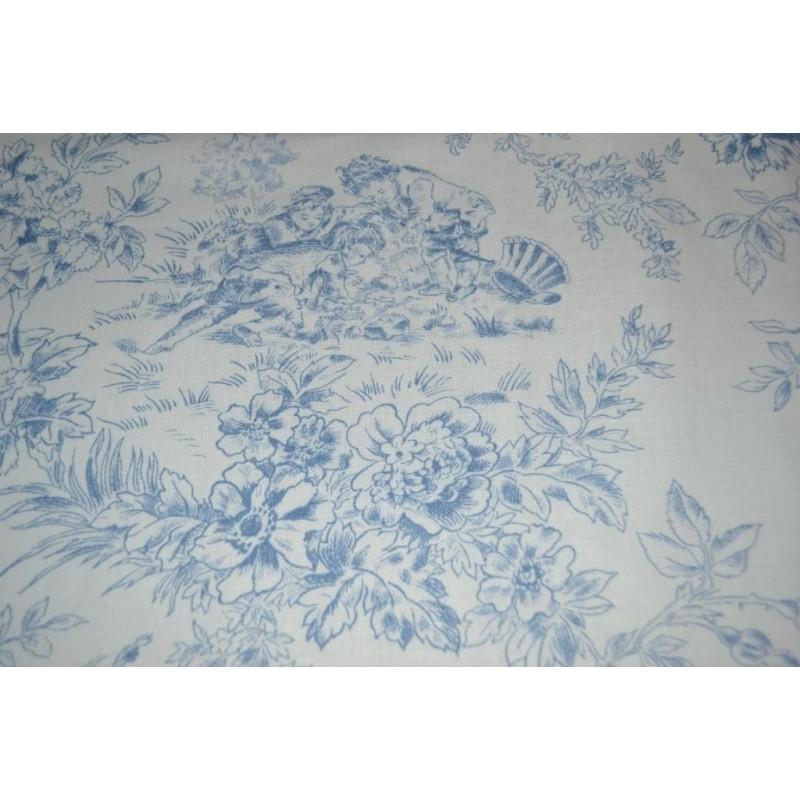 Tissu style Toile de Jouy bleu  Coupon 1,10m x 95 cm