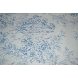 Tissu style Toile de Jouy bleu  Coupon 2m x 1,10 m