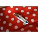 Tissu coton Enduit  pois blancs fond rouge   Coupon 1 m x 0.82 cm