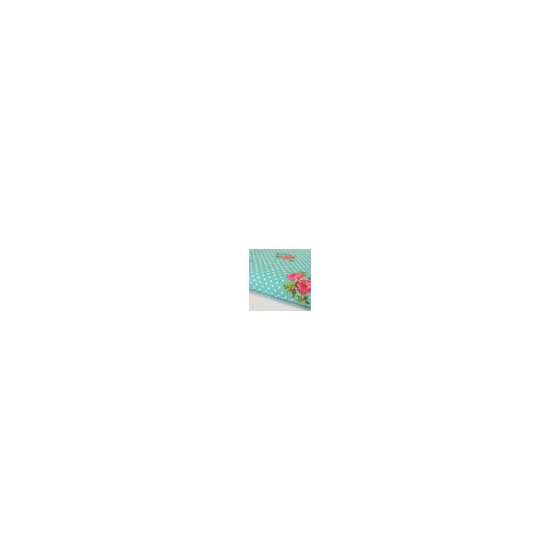 Coupon Tissu 100 % coton à pois et fleurs roses fond bleu turquoise et pois blanc Coupon 1,45m x 1 m
