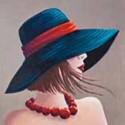 """Image 3 D  Image Rétro """"Femme au collier Rouge"""" 30 x 30 vendue à l'unité"""