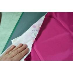 Tissu coton Esprit Japonnais vagues seigaiha fond framboise motifs dorés Coupon 1,45m x 1 m Destockage -10%