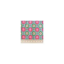 Tissu coton imprimé fleurs géométriques rose vif turquoise Coupon 1,45m x 1 m