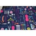 Tissu coton bleu marine imprimé couture l: 112 cm, vendu par 10 cm