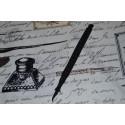 Tissu vintage oiseaux & écritures l: 112 cm, vendu par 10 cm