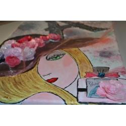 Papier feuille de riz 50x50 La Vie en Rose découpage déco Stampéria