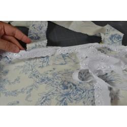 Ruban dentelle anglaise blanc mélange coton polyester Fleur 3 trous longueur 2 m x3 cm