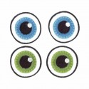 Yeux en tissu ronds Ø 3 cm couleur thermofixable polyester 2 paires