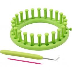 Métier à tricoter d:12 cm, 1 pièce avec aiguille + crochet + notice