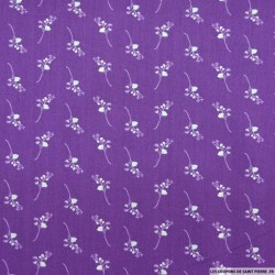 Tissu Coton Bio OEKO-TEX fond ultraviolet motif petit bouquet
