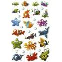 Planche Stickers autocollants Epoxy animaux marins 7,5x12 cm