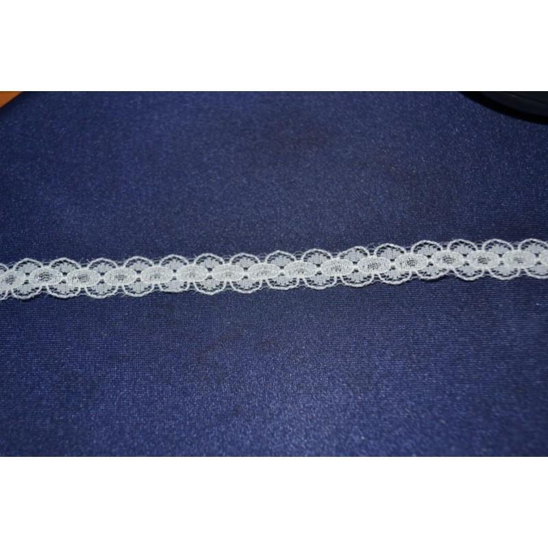 Ruban Petit galon dentelle légère aux fuseaux mécaniques blanc longueur 1 m x 10 mm