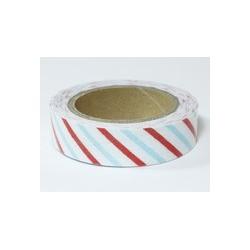 Ruban tissu adhésif décoratif Masking Tape Fabric tape blanc à rayures rouges et bleues