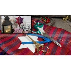Tissu festif  étoile de NOEL rouge