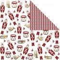 Lot de 3 Papier scrap double Design Casse Noisette 30,5x30,5 cm blanc or rouge