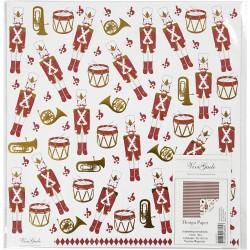 papier scrap double design casse noisette NOEL 30.5x30.5 décorations cartes albums de NOEL, blanc rouge or